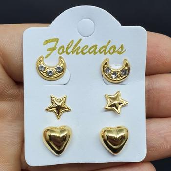 Kit De Brincos Folheados Dourado Lua
