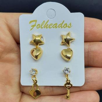 Kit De Brincos Folheados Dourado Fechadura