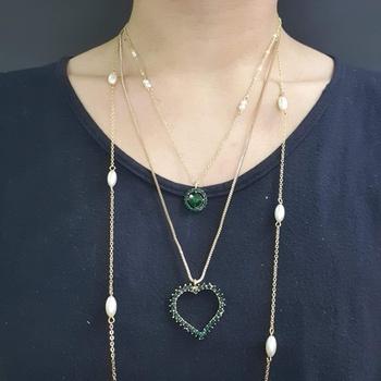 Colar Triplo Coração Dourado Verde