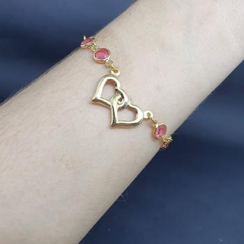 Pulseira Folheada Dourada Coração Rosa