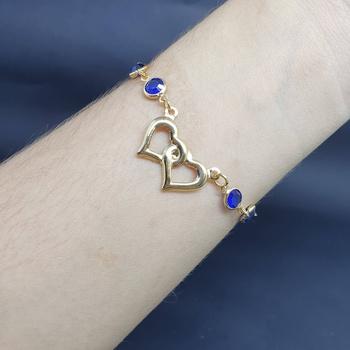 Pulseira Folheada Dourada Coração Azul Escuro