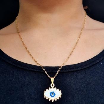 Colar Folheado Dourado Olho Grego