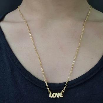Colar Escapulário Folheado Dourado Love