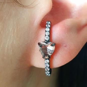 Brinco Ear Hook Semi Joia Ródio Negro Coração Rosê...