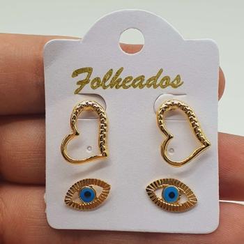 Kit De Brincos Folheados Dourado Olho Grego