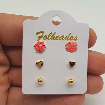 Kit De Brincos Folheados Dourado Flor Rosa