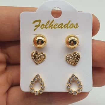 Kit De Brincos Folheados Dourado Gota