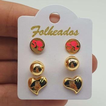 Kit De Brincos Folheados Dourado Barbie Rosa