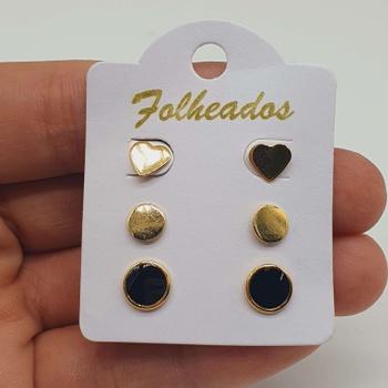 Kit De Brincos Folheados Dourado Disco Preto