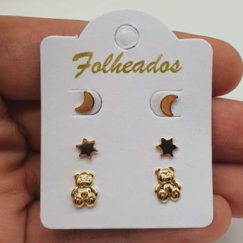 Kit De Brincos Folheados Dourado Ursinho