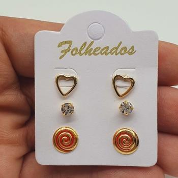 Kit De Brincos Folheados Dourado Espiral Vermelho