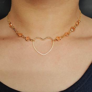 Colar Folheado Dourado Coração Rosê