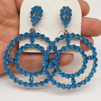 Brinco Prata Velha Azul