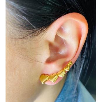 Brinco Ear Cuff Dourado Coração