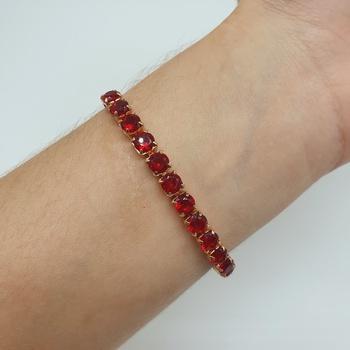 Pulseira Gravatinha Zircônia Dourado Vermelho