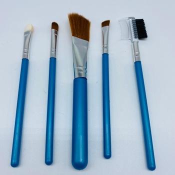 Kit Com 5 Pincéis De Maquiagem Azul