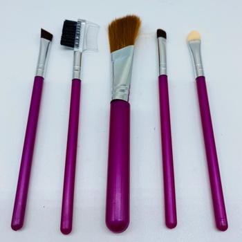 Kit Com 5 Pincéis De Maquiagem Rosa