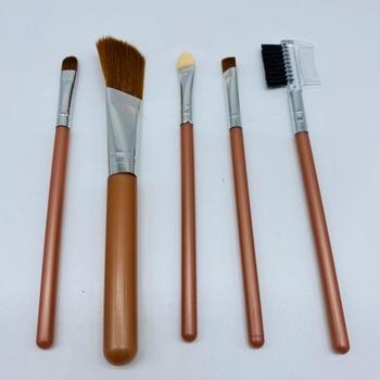 Kit Com 5 Pincéis De Maquiagem Marrom
