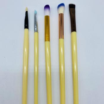 Kit Com 5 Pincéis De Maquiagem Amarelo