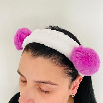 Faixa Atoalhada Para Maquiagem Pelúcia Panda Lilás...