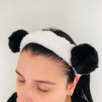 Faixa Atoalhada Para Maquiagem Pelúcia Panda Preta...