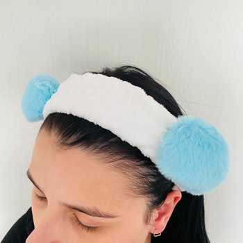 Faixa Atoalhada Para Maquiagem Pelúcia Panda Azul