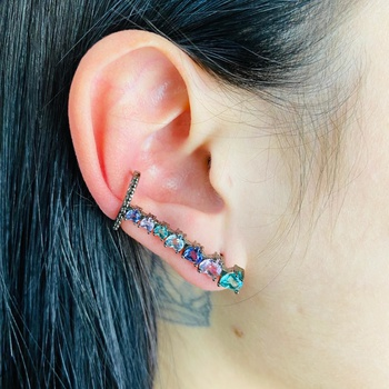 Brinco Ear Cuff Zircônia Coração Grafite Colorido ...