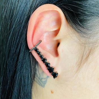 Brinco Ear Cuff Zircônia Coração Grafite Preto