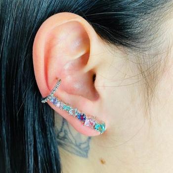 Brinco Ear Cuff Zircônia Coração Prata Colorido