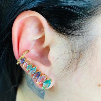 Brinco Ear Cuff Zircônia Navete Dourado Colorido