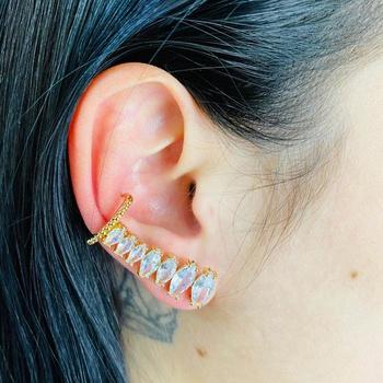 Brinco Ear Cuff Zircônia Navete Dourado Branco