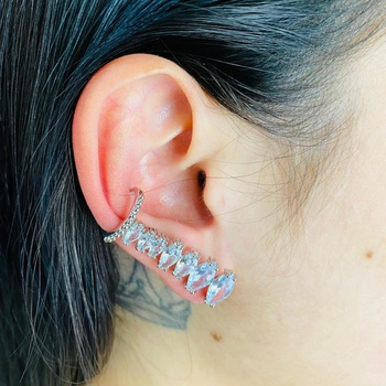 Brinco Ear Cuff Zircônia Navete Prata Branco