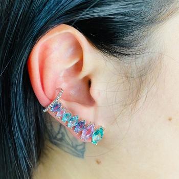 Brinco Ear Cuff Zircônia Navete Prata Colorido