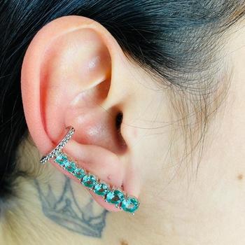 Brinco Ear Cuff Zircônia Prata Acqua