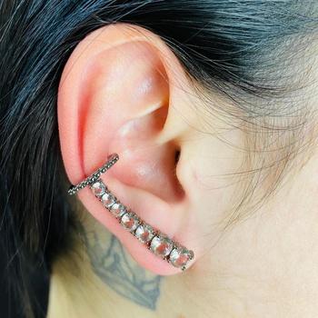 Brinco Ear Cuff Zircônia Grafite Rosê