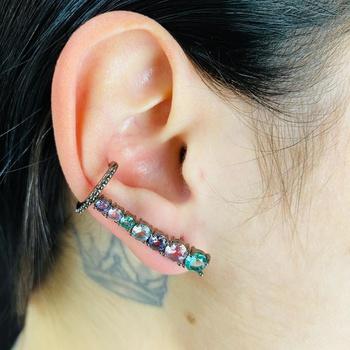 Brinco Ear Cuff Zircônia Grafite Colorido