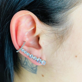 Brinco Ear Cuff Zircônia Prata Branco