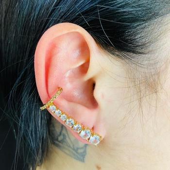 Brinco Ear Cuff Zircônia Dourado Branco