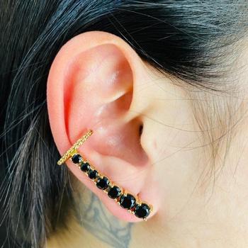 Brinco Ear Cuff Zircônia Dourado Preto