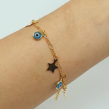 Pulseira Folheada Dourada Estrela e Olho Grego