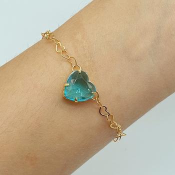 Pulseira Folheada Dourada Coração Azul Claro