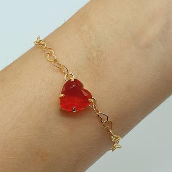 Pulseira Folheada Dourada Coração Vermelho