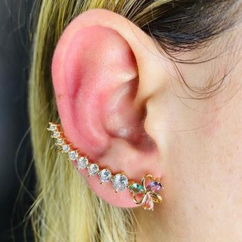 Brinco Ear Cuff Zircônia Flor Dourado Colorido