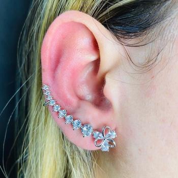 Brinco Ear Cuff Zircônia Flor Prata Branco