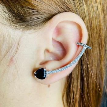 Brinco Ear Cuff Zircônia Coração Prata Preto
