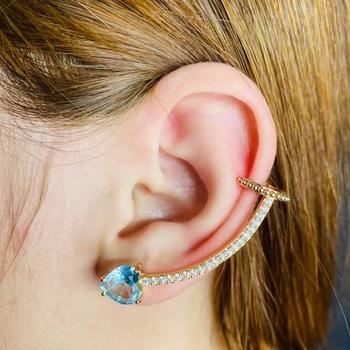 Brinco Ear Cuff Zircônia Coração Dourado Azul