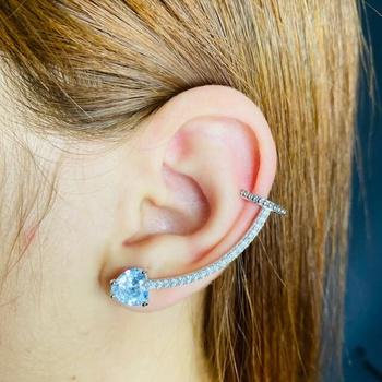 Brinco Ear Cuff Zircônia Coração Prata Branco