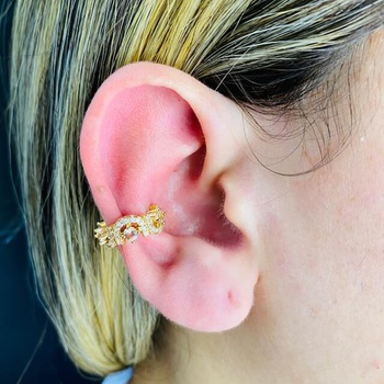 Piercing Fake Zircônia Dourado Rosê