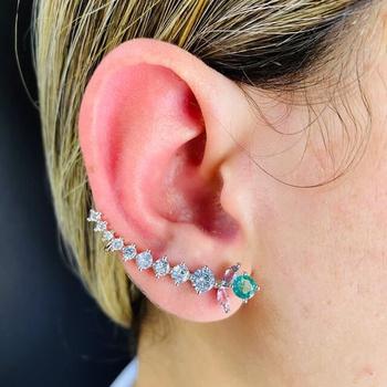 Brinco Ear Cuff Zircônia Ramos Prata Colorido