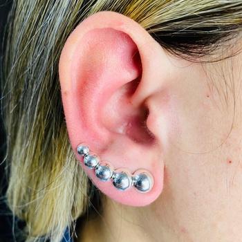 Brinco Ear Cuff Folheado a Prata 925 Círculo